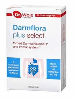 Darmflora plus select Dr. Wolz | hochdosierte Bakterienkulturen 48 Mrd/Tag | Vitamin B6 und B12, unterstützt gesunde Schleimhäute | 8 Milchsäurebakterien | Vegan | 80 Kapseln - 1